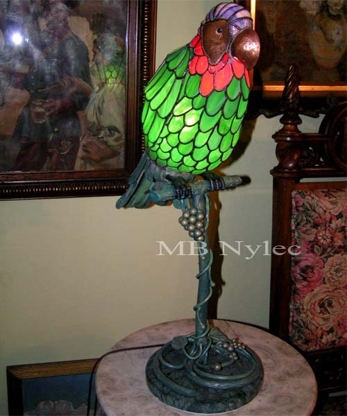 Designer interior lamp made of stained glass and steel
