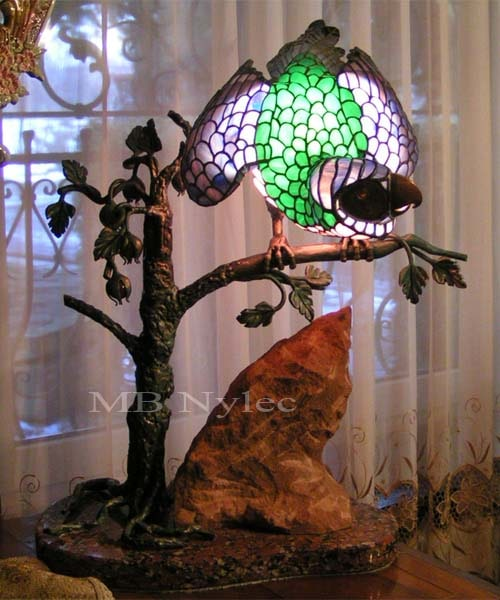 Exclusive stained glass interior lamp - a parrot