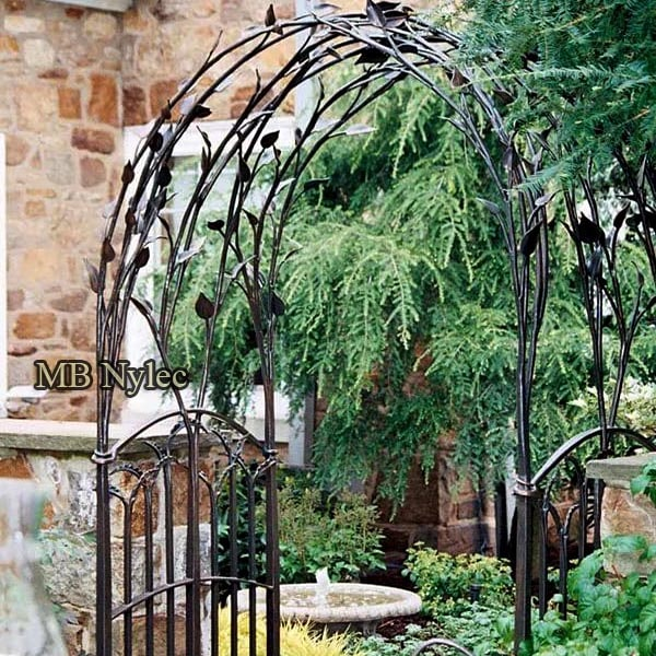 Forged pergola with a floral motif