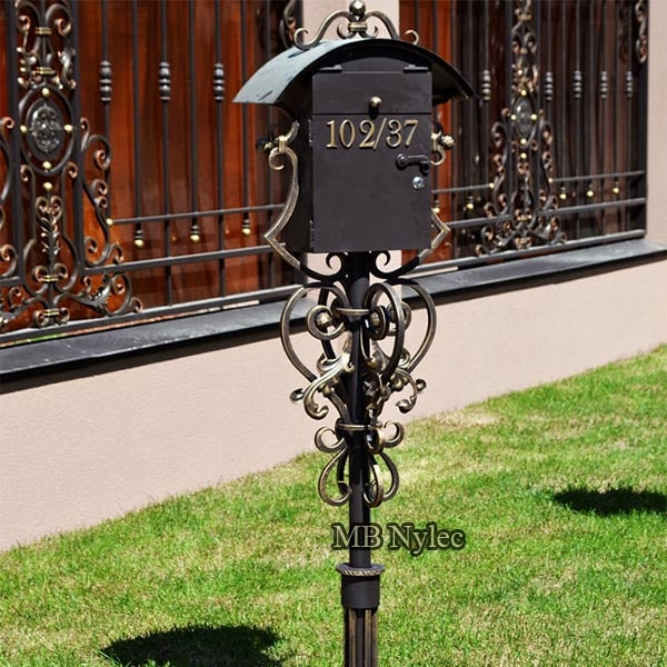 Free standing forged letter box