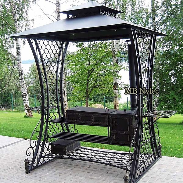 Large forged garden grill, field kitchen