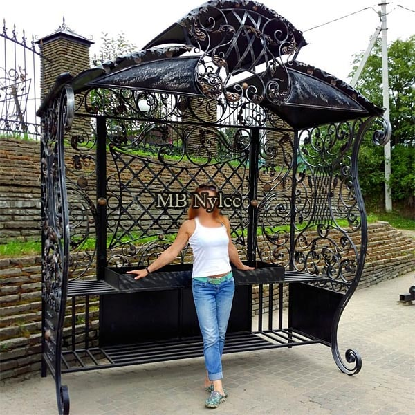 Large forged grill in the form of a gazebo