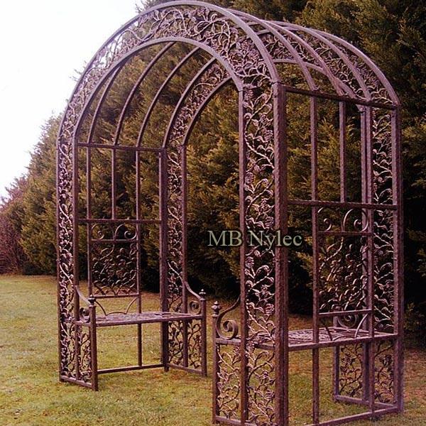 Massive garden wrought iron pergola