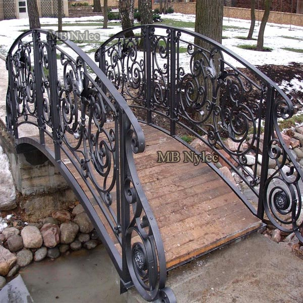 Wrought iron garden bridge