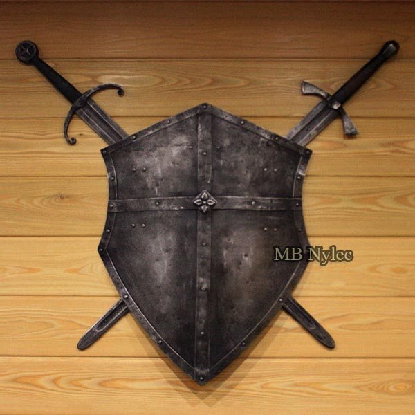 Forged shield and swords